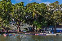 las Isletas de Granada  , Nicaragua - March 01 , 2018 : Children going to school with boat on Nicaragua lake