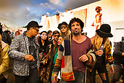 Glastonbury Festival, 2015. Shangri La is a festival of contemporary performing arts held each year within Glastonbury Festival. The theme for the 2015 Shangri La was Protest. 6am end of the festival after a heavy night's dancing.