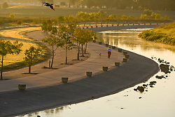 Man jogging with his dog along the path at sunset in Storey Park in Houston, Texas