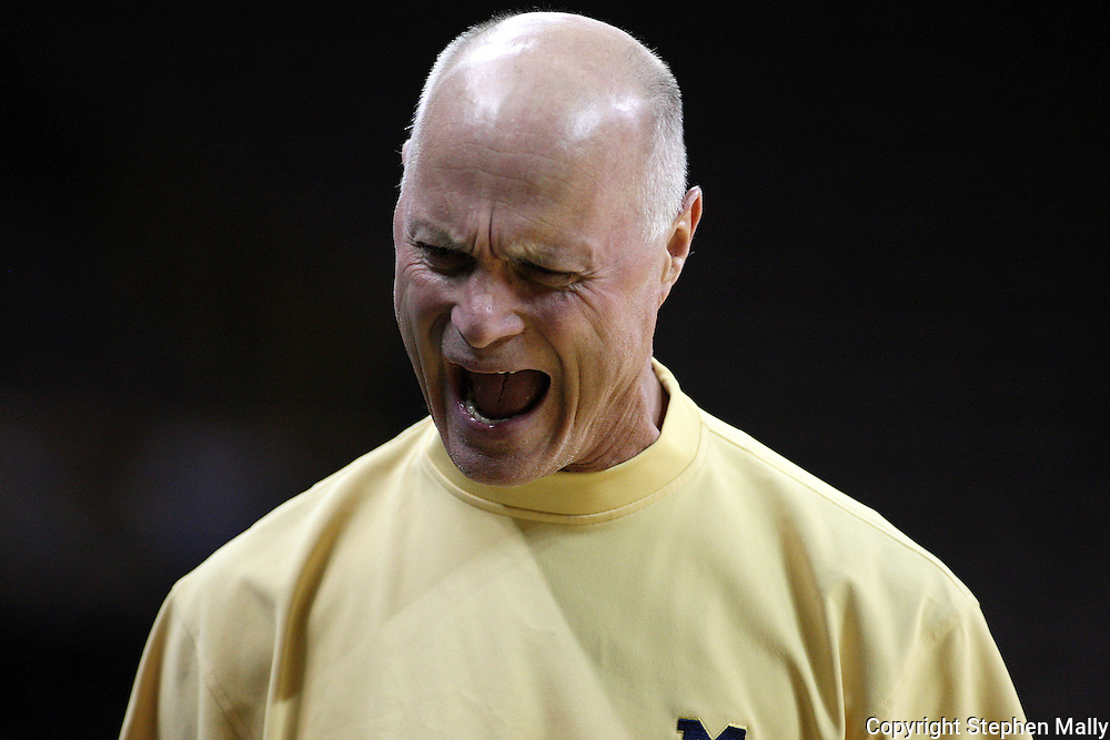 26 JANUARY 2009: Michigan head coach Kevin Borseth reacts to a call during the second half of an NCAA women's college basketball game Monday, Jan. 26, 2009, at Carver-Hawkeye Arena in Iowa City, Iowa. Iowa defeated Michigan 77-69.