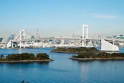 View of Rainbow Bridge in Tokyo Japan