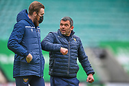 Callum Davidson, manager of St Johnstone FC walks off the field with goalkeeper Zander Clark after the final whistle of the SPFL Premiership match between Hibernian and St Johnstone at Easter Road Stadium, Edinburgh, Scotland on 1 May 2021.