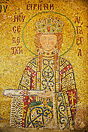 12th Century Byzantine mosaic of  Empress Irene  (Eirene) making an offering as symbolised by the scroll. Hagia Sophia, Istanbul, Turkey .<br /> <br /> If you prefer to buy from our ALAMY PHOTO LIBRARY  Collection visit : https://www.alamy.com/portfolio/paul-williams-funkystock/hagia-sophia-istanbul.html<br /> <br /> Visit our TURKEY PHOTO COLLECTIONS for more photos to download or buy as wall art prints https://funkystock.photoshelter.com/gallery-collection/3f-Pictures-of-Turkey-Turkey-Photos-Images-Fotos/C0000U.hJWkZxAbg