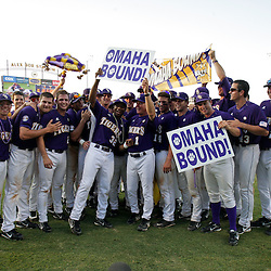 06 June 2009:  LSU players celebrate on the field following a 5-3 victory by the LSU Tigers over the Rice Owls in game two of the NCAA baseball College World Series, Super Regional played at Alex Box Stadium in Baton Rouge, Louisiana. The Tigers with the win advance to next week's College Baseball World Series in Omaha, Nebraska.