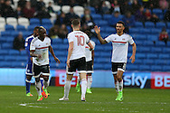 Neeskens Kebano (l) of Fulham celebrates with his teammates  after he scores his teams 2nd goal. EFL Skybet championship match, Cardiff city v Fulham at the Cardiff city stadium in Cardiff, South Wales on Saturday 25th February 2017.<br /> pic by Andrew Orchard, Andrew Orchard sports photography.