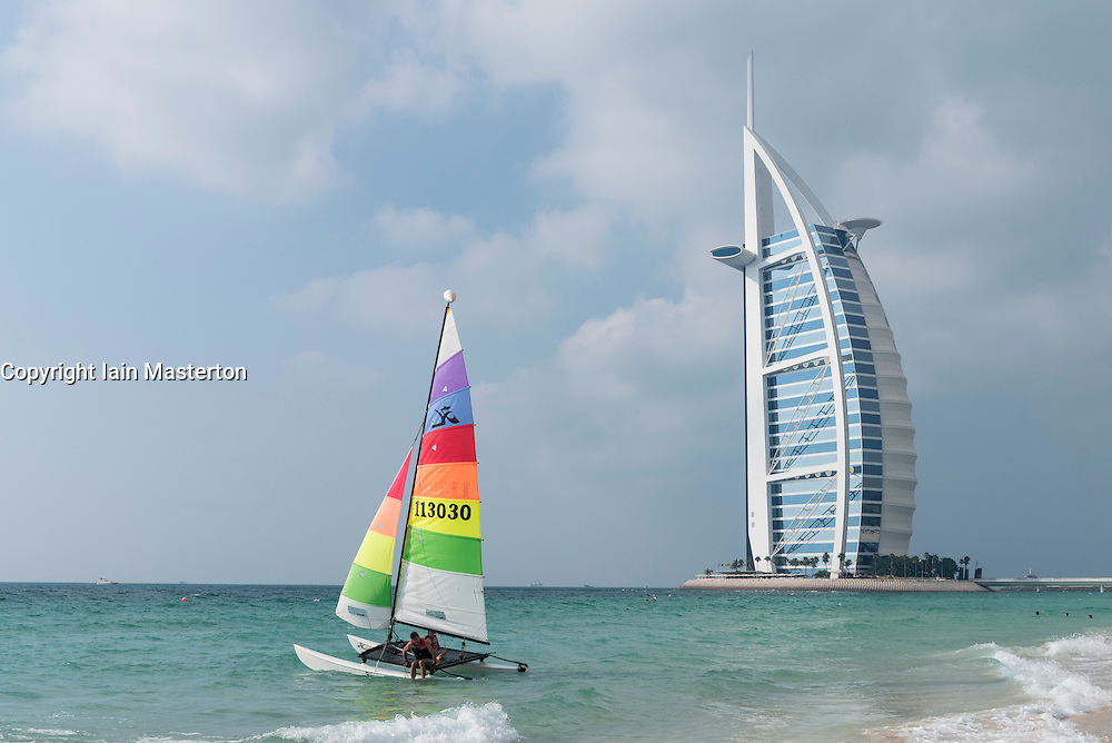 Luxury Burj al Arab Hotel and sailing boat in Dubai United Arab Emirates