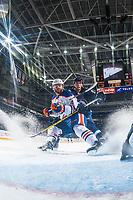 PENTICTON, CANADA - SEPTEMBER 9: Kristian Reichel #90 of Winnipeg Jets back checks Evan Polei #41 of Edmonton Oilers on September 9, 2017 at the South Okanagan Event Centre in Penticton, British Columbia, Canada.  (Photo by Marissa Baecker/Shoot the Breeze)  *** Local Caption ***