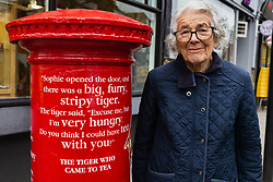 Judith Kerr is pictured at the unveiling of a special edition Royal Mail postbox celebrating her literary work on Barnes High Street in London. <br /> <br /> To mark World Book Day, Royal Mail has decorated four postboxes across the UK honouring some of the most popular British children  s authors, including C.S. Lewis, Judith Kerr and Frances Hodgson Burnett. The postboxes are adorned with lines from some of the writers   most famous works, and will be transformed for a month. London , March 05 2019.