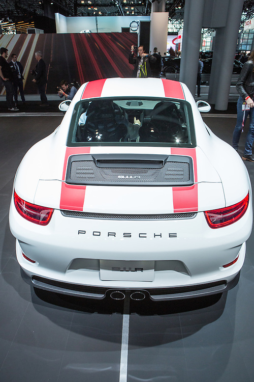 New York, NY, USA-23 March 2016. Porsche's 911 R, a $185,000 sportscar with a top track speed of 200mph.