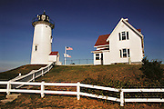 Nobska lighthouse on Cape Cod, near Falmouth, Massachusetts.  New England, USA.