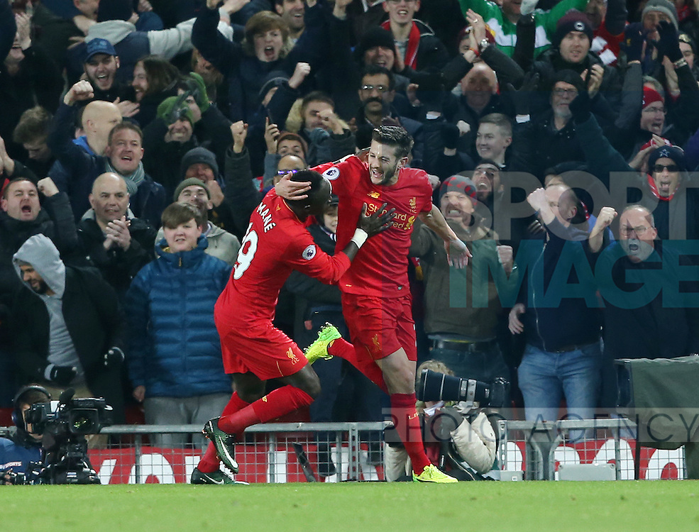 Liverpool's Adam Lallana celebrates scoring his sides opening goal during the Premier League match at Anfield Stadium, Liverpool. Picture date December 27th, 2016 Pic David Klein/Sportimage