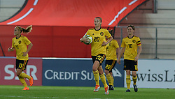 October 9, 2018 - Biel, SWITZERLAND - Belgium's Julie Biesmans bringing back the ball after conceding the 1-0 a soccer game between Switzerland and Belgium's national team the Red Flames, Tuesday 09 October 2018, in Biel, Switzerland, the return leg of the play-offs qualification games for the women's 2019 World Cup. BELGA PHOTO DAVID CATRY (Credit Image: © David Catry/Belga via ZUMA Press)