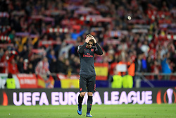 Arsenal's Aaron Ramsey shows his dejection after the final whistle of the UEFA Europa League, Semi Final, Second Leg at Wanda Metropolitano, Madrid.