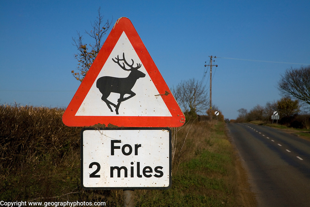 Road sign warns of deer for 2 miles ahead