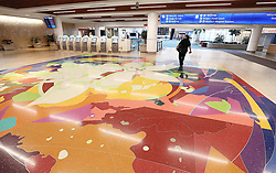 A lone employee strolls across the terminal area as Orlando International Airport is closed on Tuesday, September 3, 2019 ahead of Hurricane Dorian. Photo by Stephen M. Dowell/Orlando Sentinel/TNS/ABACAPRESS.COM