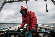 Edinburgh, Scotland. August, 2017. Robert Johnson junior looks at the trawl net while pulling it up on August 31, 2017 near Edinburgh, Scotland. Port Seton is one of the few East Lothian harbours to maintain a fishing fleet, but the harbour has seen a sharp drop in fishing in recent years, forcing many to abandon the industry. Father and son, with the same name, Robert Johnson, were forced to sell one of their trawlers due to a decrease in crustacean yields, but they still continue to brave the North sea conditions to bring in their daily catch.  © Simone Padovani