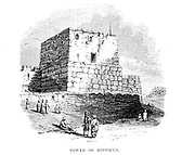 Tower of Hippicus, Jerusalem From the Book 'Bible places' Bible places, or the topography of the Holy Land; a succinct account of all the places, rivers and mountains of the land of Israel, mentioned in the Bible, so far as they have been identified, together with their modern names and historical references. By Tristram, H. B. (Henry Baker), 1822-1906 Published in London in 1897