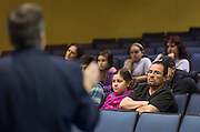 Parents and students learn about the effects of House Bill 5 during a community meeting at Milby High School, March 25, 2014.