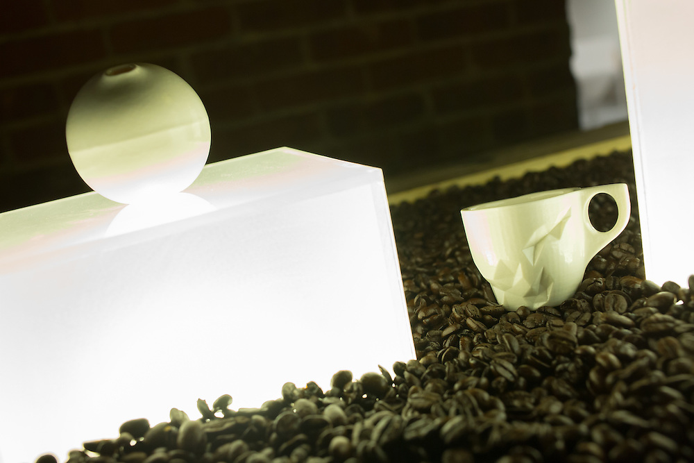 Slipcast espresso cups by Brooklyn's Espress Yourself. The elaborate molds are first made on 3-D printers.