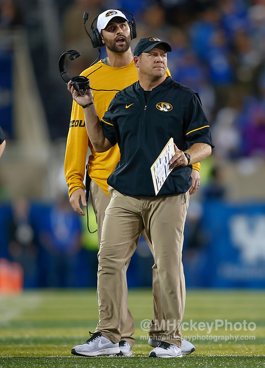 LEXINGTON, KY - OCTOBER 07: Head coach Barry Odom of the Missouri Tigers is seen during the game against the Kentucky Wildcats at Commonwealth Stadium on October 7, 2017 in Lexington, Kentucky. (Photo by Michael Hickey/Getty Images) *** Local Caption *** Barry Odom