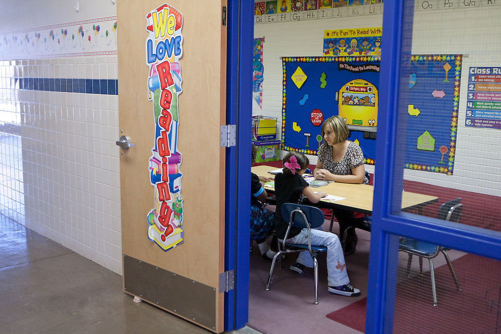 Lovington schools reading specialist Shawnlee Caballero works with students. The schools in Lea County are using Recovery and Reinvestement funds to pay for much needed teachers and specialists like Cabalero.