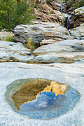 Saguaro-studded hillsides reflect in a small puddle in the granite shelves at Seven Falls.