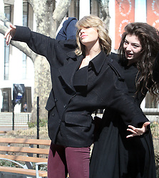 US singer Taylor Swift poses for picture with new best friend Lorde in New York City, NY, USA on March 9, 2014. Photo by Dessalles-Guerin/ABACAPRESS.COM  | 437621_003 New York City Unitd Etats-Unis United States