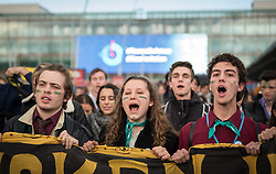 13 December 2019, Madrid, Spain: As COP25 is about to draw to a close, hundreds of young people mobilize through Fridays for Future in a strike for the climate, inside and outside the venue of COP25 in Madrid, calling for urgent action for climate justice. Here, marching out from the COP25 venue to join other Fridays for Future strikers in the streets of Madrid.