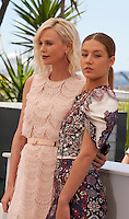 Charlize Theron and Adèle Exarchopoulos at the The Last Face film photo call at the 69th Cannes Film Festival Friday 20th May 2016, Cannes, France. Photography: Doreen Kennedy