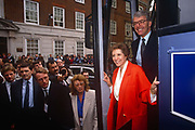 British Prime Minister, John Major and wife Norma emerge from the Conservative party election Battle Bus to greet supporters and reporters outside Central Office on 20th March 1992 in Smiths Square, London England. Major went on to win the election and was the fourth consecutive victory for the Conservative Party although it was its last outright win until 2015 after Labours 1997 win for Tony Blair.