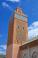 Square minaret of the Almohad mosque of the Kasba, Marrakech, Morocco .<br /> <br /> Visit our MOROCCO HISTORIC PLAXES PHOTO COLLECTIONS for more   photos  to download or buy as prints https://funkystock.photoshelter.com/gallery-collection/Morocco-Pictures-Photos-and-Images/C0000ds6t1_cvhPo<br /> .<br /> <br /> Visit our ISLAMIC HISTORICAL PLACES PHOTO COLLECTIONS for more photos to download or buy as wall art prints https://funkystock.photoshelter.com/gallery-collection/Islam-Islamic-Historic-Places-Architecture-Pictures-Images-of/C0000n7SGOHt9XWI