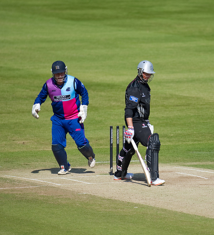 Somerset's Marcus Trescothick clean bowled by Middlesex Panthers' Ollie Rayner <br /> <br />  (Photo by Ashley Western/CameraSport) <br /> <br /> County Cricket - Yorkshire Bank 40 - Group C - Middlesex Panthers v Somerset - Tuesday 4th June 2013 - Lords - London<br /> <br /> © CameraSport - 43 Linden Ave. Countesthorpe. Leicester. England. LE8 5PG - Tel: +44 (0) 116 277 4147 - admin@camerasport.com - www.camerasport.com