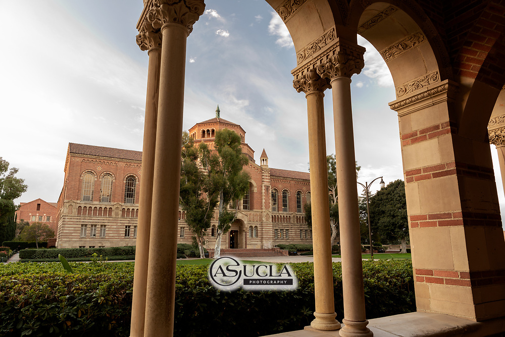 ASUCLA Photography Archive -  Exterior image of UCLA Powell Library, UCLA Campus. University of California Los Angeles, Westwood, California.<br /> <br /> Copyright: ASUCLA