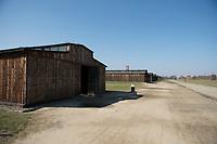 09 APR 2012, KRAKOW/POLAND:<br /> Restaurierte Holz-Baraken, Staatliches polnisches Museum / Gedenkstaette des ehem. Konzentrationslager Ausschitz-Birkenau<br /> IMAGE: 20120409-01-051<br /> KEYWORDS: Krakau, KZ, Vernichtungslagers Auschwitz II–Birkenau, Polen