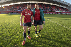 December 9, 2018 - Limerick, Ireland - Alby Mathewson and Rory Scannell of Munster pictured during the Heineken Champions Cup Round 3 match between Munster Rugby and Castres Qlympique at Thomond Park Stadium in Limerick, Ireland on December 9, 2018  (Credit Image: © Andrew Surma/NurPhoto via ZUMA Press)