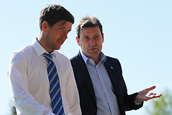 Bristol Rovers manager Darrell Clarke chats with head of recruitment Tommy Widdrington on the pitch ahead of the match  - Mandatory by-line: Richard Calver/JMP - 05/05/2018 - FOOTBALL - Roots Hall - Southend-on-Sea, England - Southend United v Bristol Rovers - Sky Bet League One