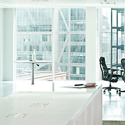 Office interior with chairs and table