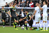 Antonio Conte , the Chelsea manager ©  yells and shows his frustration as Diego Costa of Chelsea is fouled.  Premier league match, Swansea city v Chelsea at the Liberty Stadium in Swansea, South Wales on Sunday 11th Sept 2016.<br /> pic by  Andrew Orchard, Andrew Orchard sports photography.