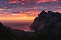 Colorful sunset over Bunes beach, Moskenesøy, Lofoten Islands, Norway