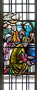 One of the kings following Mary and Joseph to Bethlehem, Stained glass window by Margaret Edith Aldrich Rope ( 1891-1988), Church of Saint Margaret, Leiston, Suffolk, England, UK