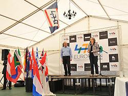 Steering group chair Fiona Barron and 470 class President Stanislav Kassarov open 470 European Championships, Largs 2012