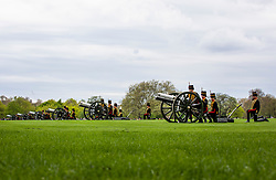 © Licensed to London News Pictures. 24/04/2018. London, UK. The King's Troop Royal Horse Artillery and The Honourable Artillery Company prepare to fire celebratory Royal Salutes in Hyde Park to mark the birth of the new Royal baby, the Duke and Duchess of Cambridge's third child. Photo credit: Rob Pinney/LNP