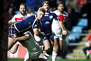 Scotland's Danny Addy (7) looks for the lay off during the Ladbrokes Four Nations match between England and Scotland at the Ricoh Arena, Coventry, England on 5 November 2016. Photo by Craig Galloway.