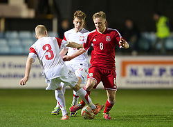 RHYL, WALES - Tuesday, March 18, 2014: Wales' Matty Smith in action against Poland during the Under-15's International Friendly match at Belle Vue. (Pic by David Rawcliffe/Propaganda)