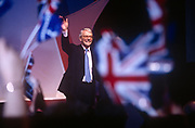 British Prime Minister John Major waves at his crowd of Tory supporters at a Conservative Party Rally, on 29th April 1997, in London, England.