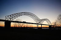 Mississippi River bridge between Memphis, Tennessee and Arkansas with Interstate 40 at Sunset