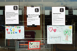 © Licensed to London News Pictures. 08/04/2020. London, UK. Hand painted pictures with messages of appreciation are displayed at Sainsbury's supermarket in north London during the coronavirus outbreak. Photo credit: Dinendra Haria/LNP