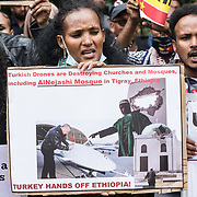 """2021-09-13 Turkey Embassy, London, UK. Protestors in front of Turkey Embassy, London, UK. Tigray Famine and Anti-Turkish Drones sale 6 million under seige, 900,000 in famine, no communication, no medical suplies, hundreds already dead. Protestors call United Nation send humanitarian aid to Tigray. The whole world still in sleep, the louder the cry for democracy, human rights, freedom """"divide and conquer"""" you will suffer, pay a very high price. Why should independent nations buy weapons to kill its own people but not to defeat the invaders?"""
