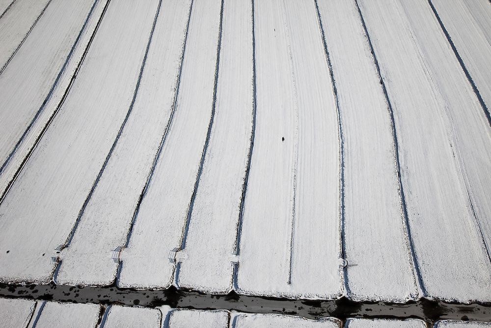 Nederland, Utrecht, Gemeente Bunschoten, 31-01-2010; besneeuwde polders tussen Spakenburg en Eemnes, .sloten, greppels en damhekken vormen door de sneeuw een abstract landschap.snowy polders between and Spakenburg and Eemnes,.the snow makes ditches, trenches and gates form an abstract landscape.luchtfoto (toeslag), aerial photo (additional fee required).foto/photo Siebe Swart