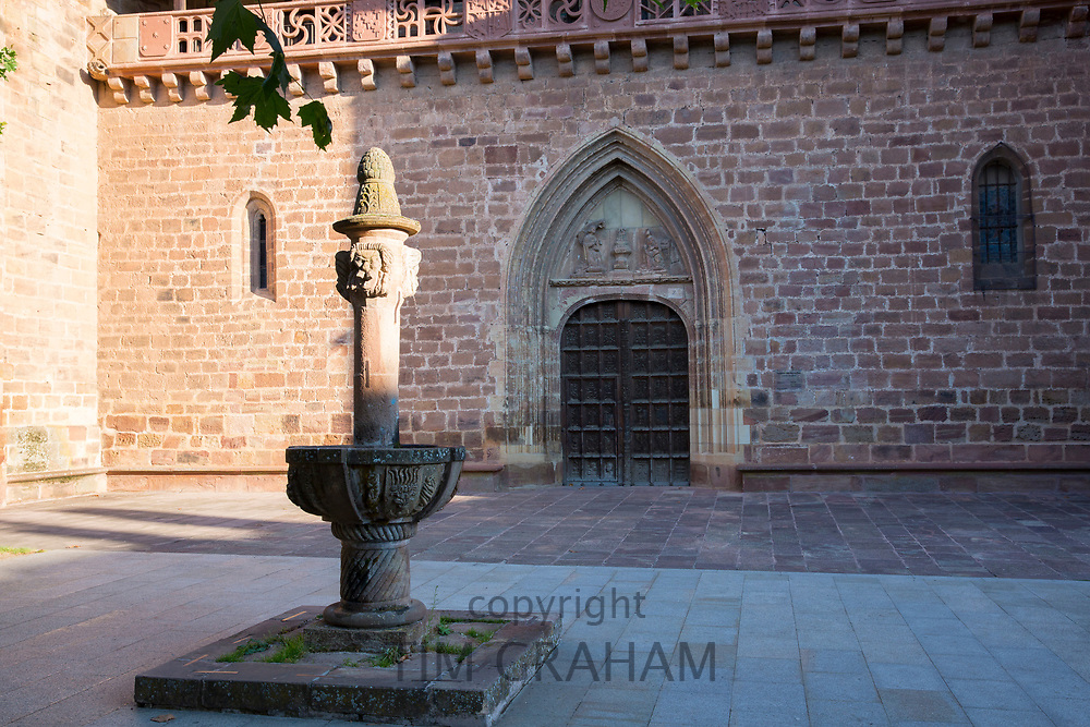 Fountain in courtyard of Iglesia Church Santa Maria La Major in Ezcaray, La Rioja, Spain